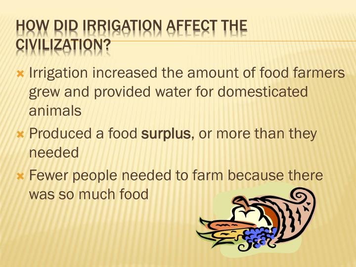 Irrigation increased the amount of food farmers grew and provided water for domesticated animals
