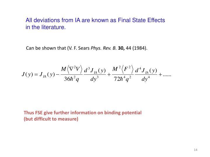 All deviations from IA are known as Final State Effects