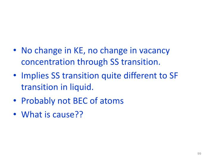 No change in KE, no change in vacancy concentration through SS transition.