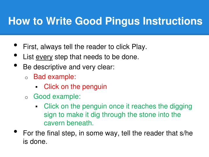 How to Write Good Pingus Instructions