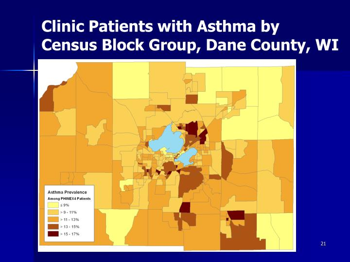 Clinic Patients with Asthma by   Census Block Group, Dane County, WI
