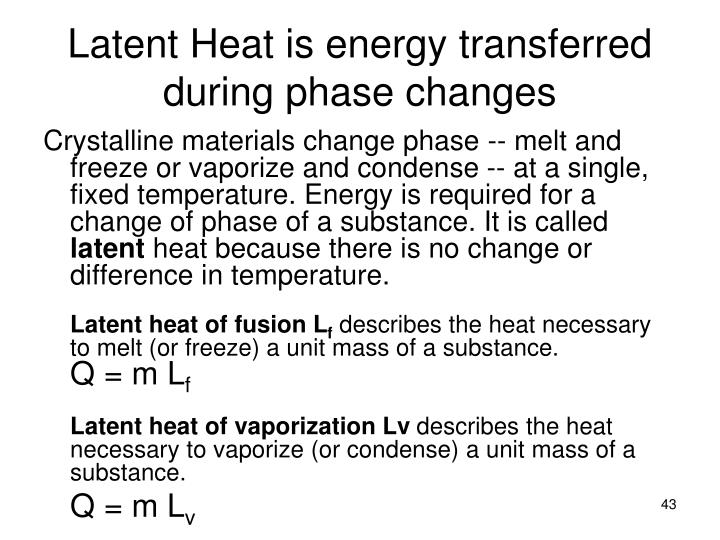 Latent Heat is energy transferred during phase changes