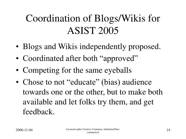 Coordination of Blogs/Wikis for ASIST 2005