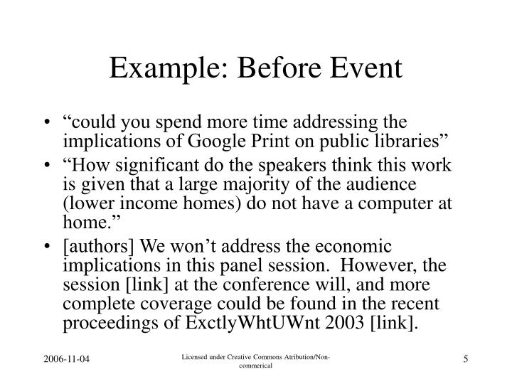 Example: Before Event