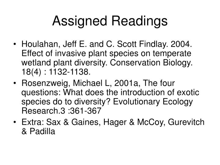 Assigned Readings
