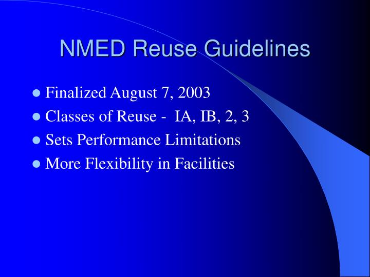 NMED Reuse Guidelines