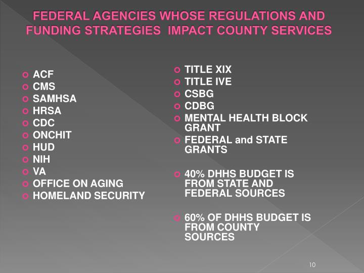 FEDERAL AGENCIES WHOSE REGULATIONS AND FUNDING STRATEGIES  IMPACT COUNTY SERVICES