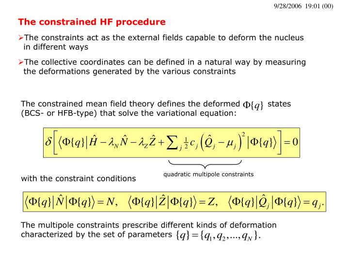 The constrained HF procedure