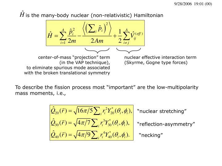 is the many-body nuclear (non-relativistic) Hamiltonian