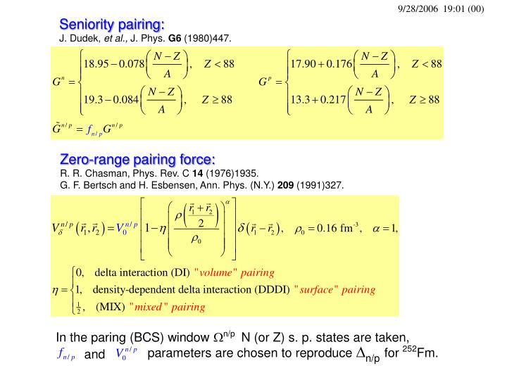 Zero-range pairing force: