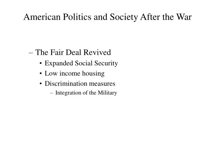 American Politics and Society After the War