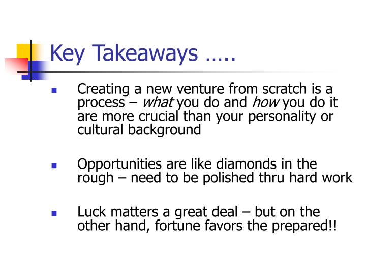 Key Takeaways …..