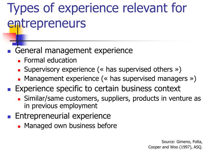 Types of experience relevant for entrepreneurs
