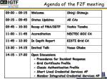 agenda of the f2f meeting