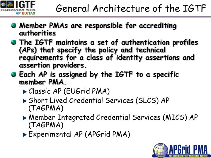 General Architecture of the IGTF