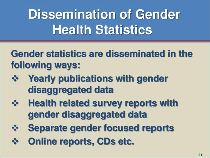 Dissemination of Gender Health Statistics