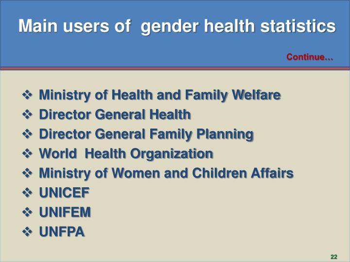 Main users of  gender health statistics
