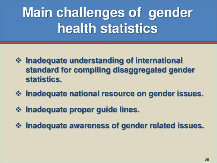 Main challenges of  gender health statistics