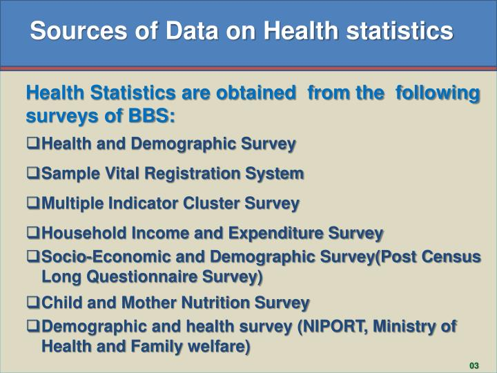 Sources of Data on Health statistics