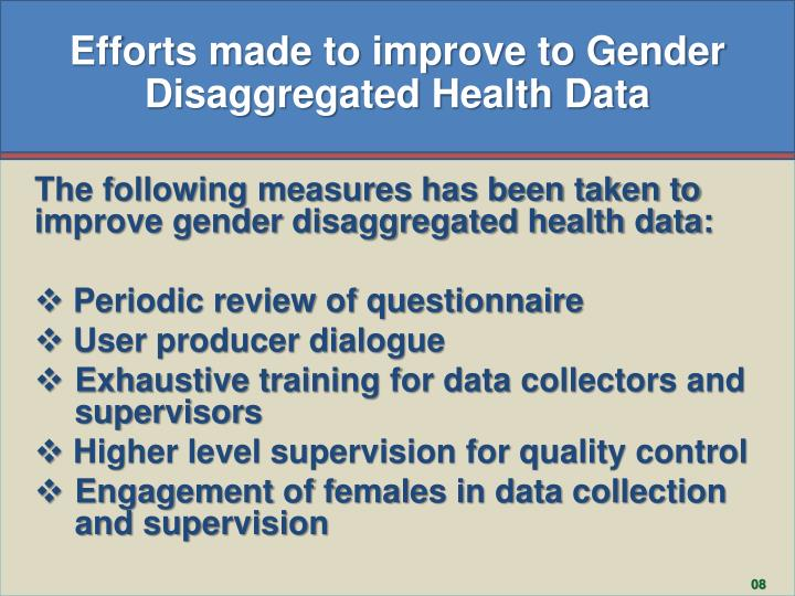Efforts made to improve to Gender Disaggregated Health Data