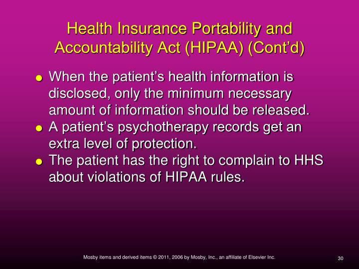 Health Insurance Portability and Accountability Act (HIPAA) (Cont'd)