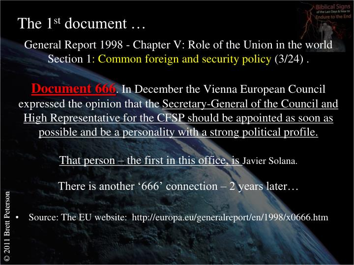General Report 1998 - Chapter V: Role of the Union in the world