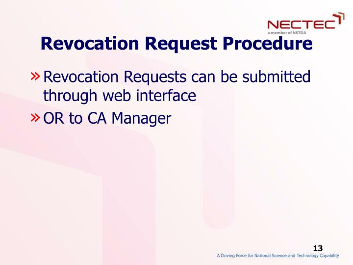 Revocation Request Procedure