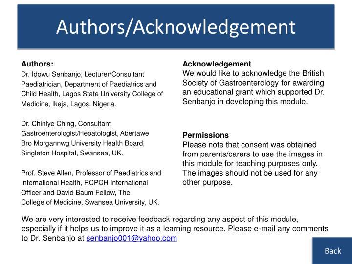 Authors/Acknowledgement