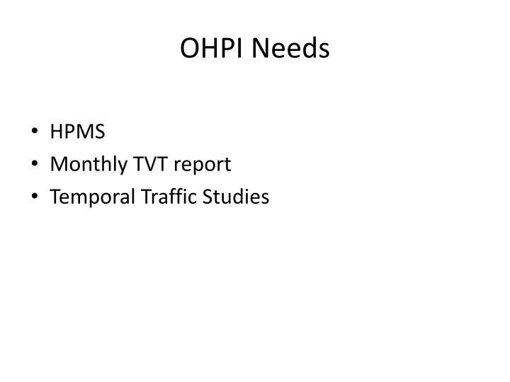 OHPI Needs