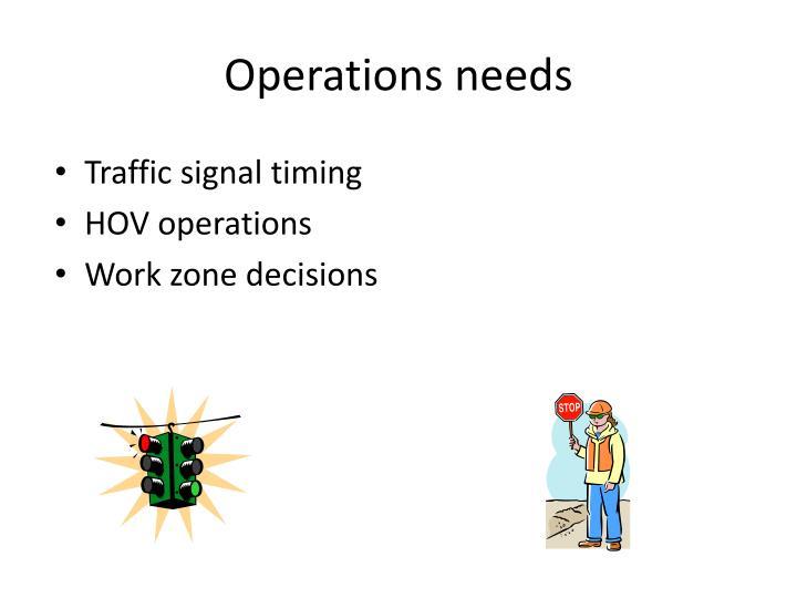 Operations needs