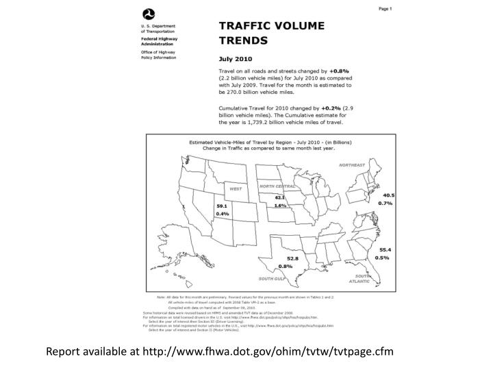 Report available at http://www.fhwa.dot.gov/ohim/tvtw/tvtpage.cfm