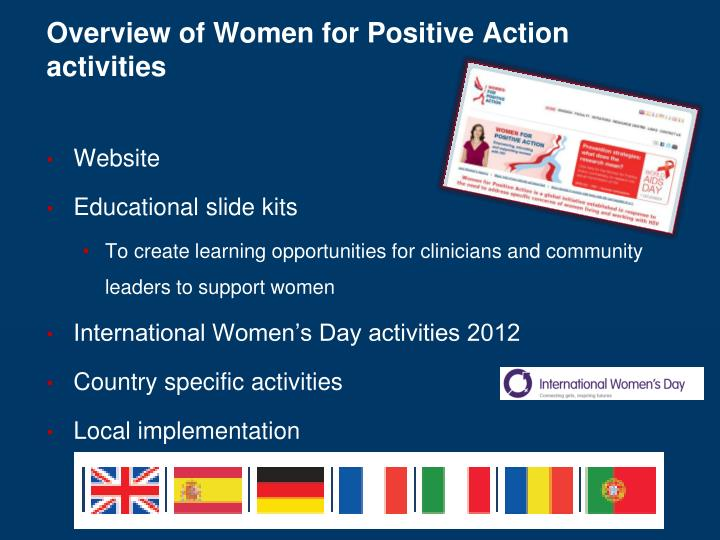 Overview of Women for Positive Action activities
