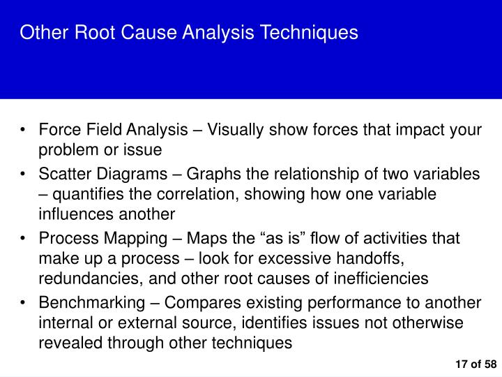 Other Root Cause Analysis Techniques