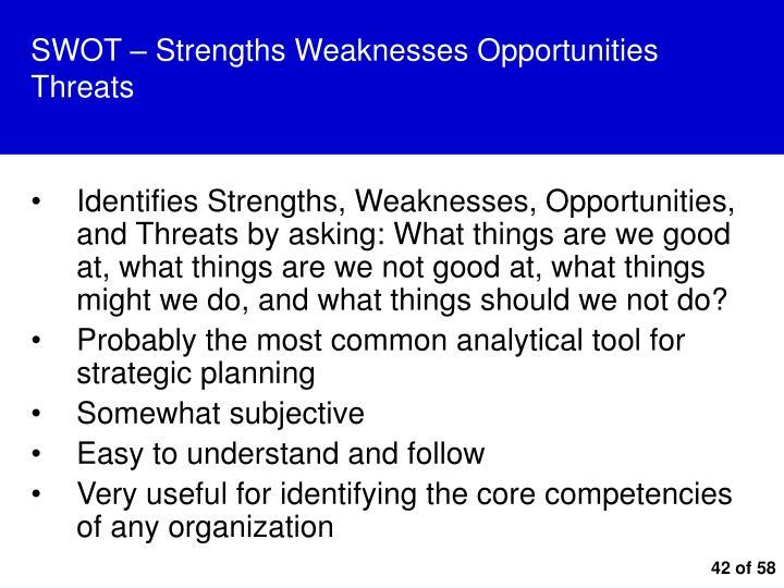 SWOT – Strengths Weaknesses Opportunities Threats
