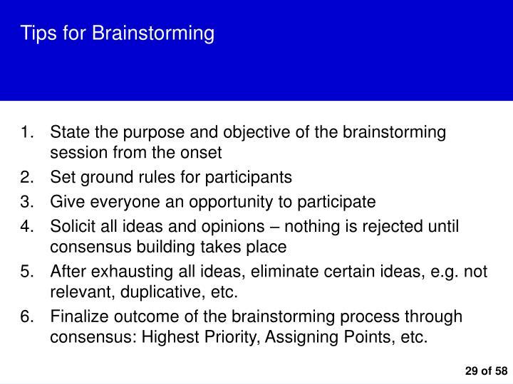 Tips for Brainstorming