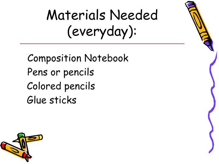 Materials Needed (everyday):