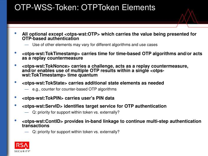 OTP-WSS-Token: OTPToken Elements