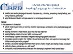 checklist for integrated r eading language arts i nstruction