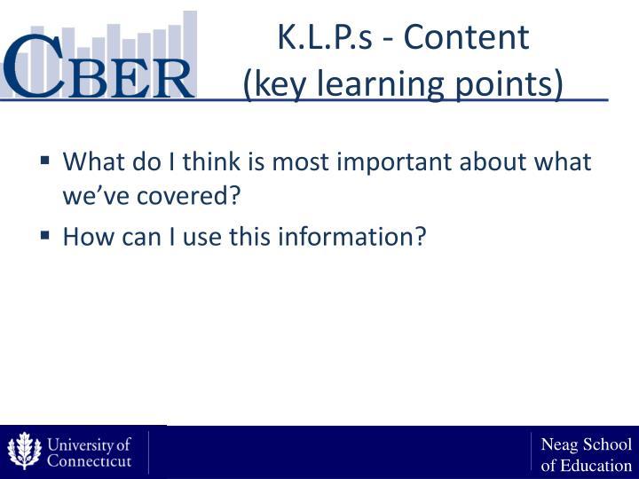 K.L.P.s - Content