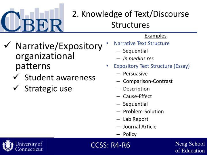 2. Knowledge of Text/Discourse Structures