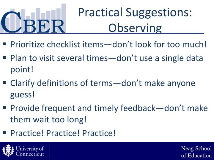 Practical Suggestions: Observing