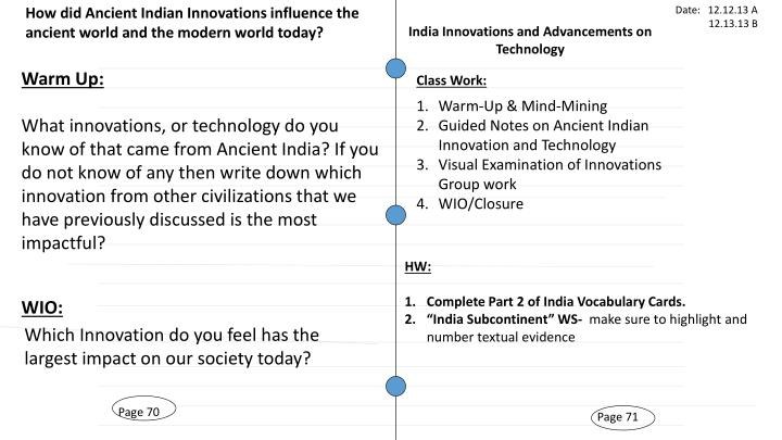 How did Ancient Indian Innovations influence the ancient world and the modern world today?