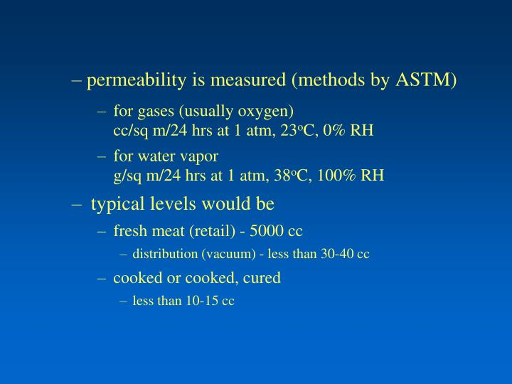permeability is measured (methods by ASTM)