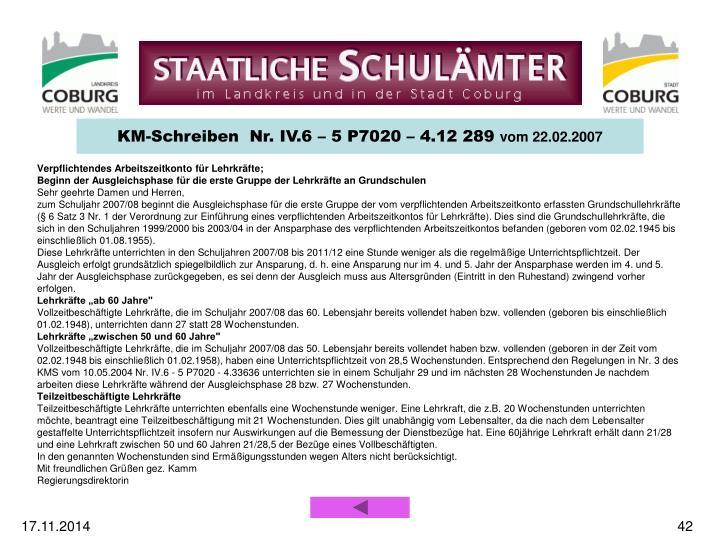 KM-Schreiben  Nr. IV.6 – 5 P7020 – 4.12 289