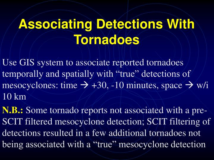 Associating Detections With Tornadoes