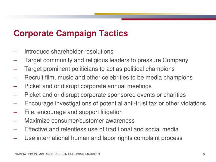 Corporate Campaign Tactics