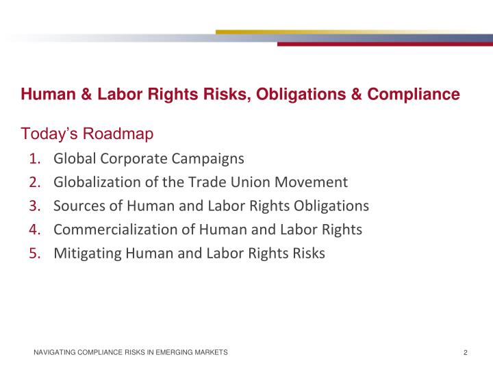 Human & Labor Rights Risks, Obligations & Compliance