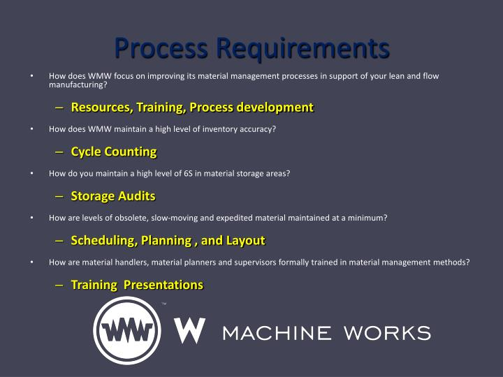 Process Requirements
