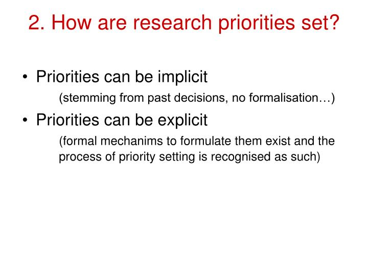 2. How are research priorities set?