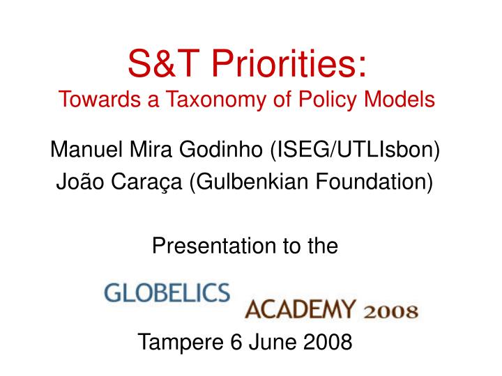 S t priorities towards a taxonomy of policy models